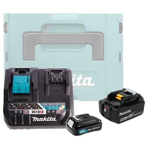 Аккумулятор BL1850B 5.0 Ah / BL1021B 2.0 Ah + зарядное DC18RE Makita (199024-2)