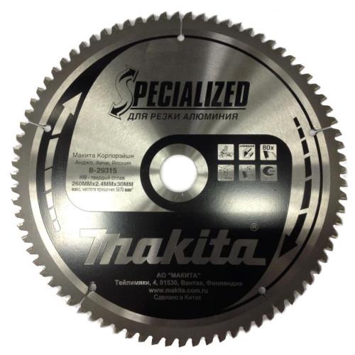 Пильный диск для алюминия,260x30x1.8x80T, Makita, B-29315