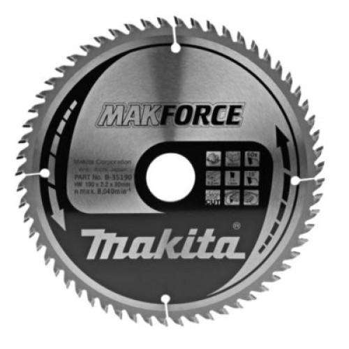 Пильный диск для дерева MAKFORCE,190x30/20/15.88x1.4x60T, Makita, B-35190