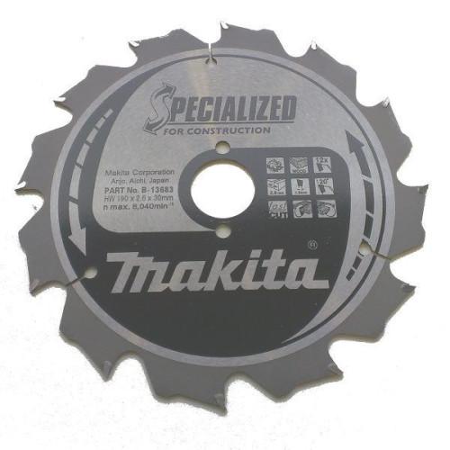 Пильный диск для строительных работ,190x30x1.6x12T, MAKITA, B-13683