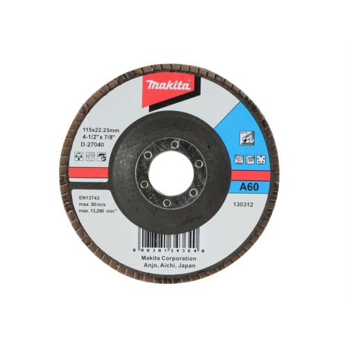Лепестковый шлифовальный диск А120,115мм,стекловолокно,плоский, MAKITA, D-27268